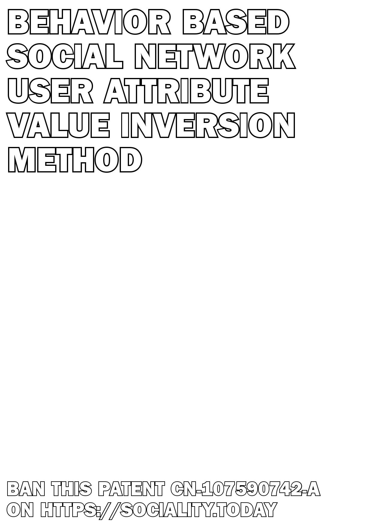Behavior based social network user attribute value inversion method  - CN-107590742-A