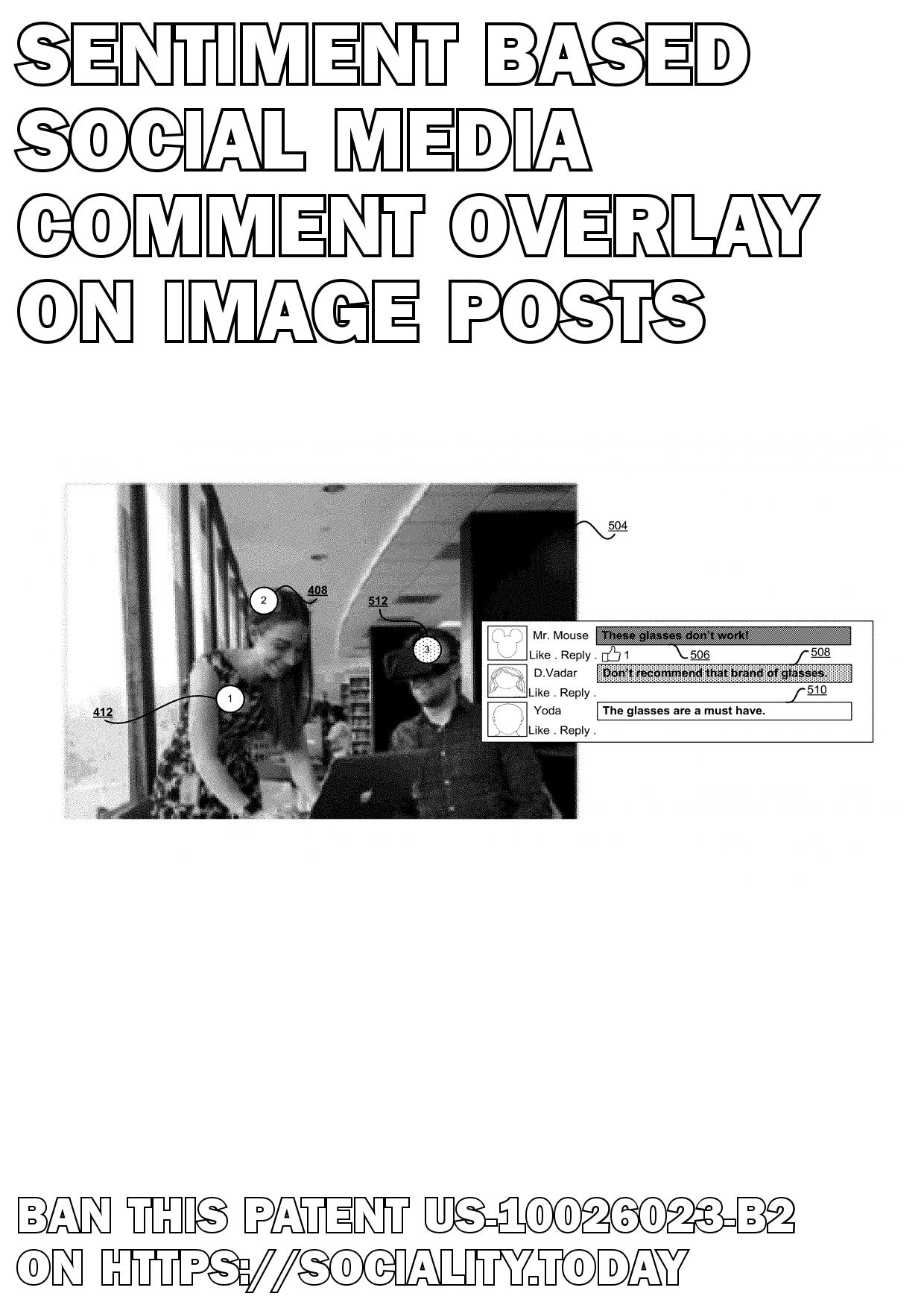 Sentiment based social media comment overlay on image posts  - US-10026023-B2