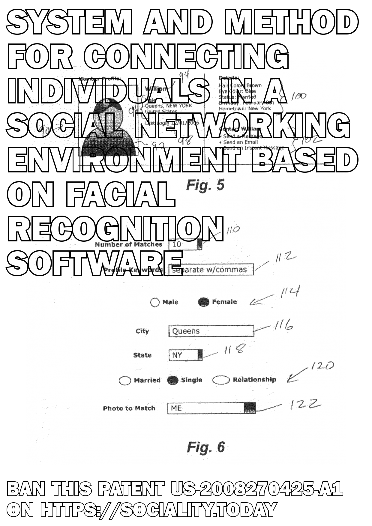 System and method for connecting individuals in a social networking environment based on facial recognition software  - US-2008270425-A1